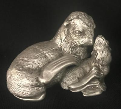 NEW Mother Sea Lion & Pup Pewter Trinket Box Sculpture MADE IN USA Dana Masters