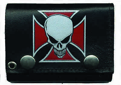 "4"" Iron Cross Red Maltese Cross Skull Leather Wallet with Chain Biker Wallet"
