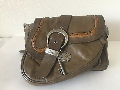 e4044a9236e2 authentic Christian Dior Gaucho medium Double Saddle Bag khaki brown leather