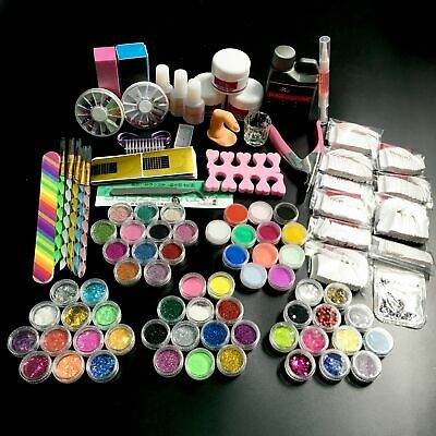 Full 60 Acrylic Powder Glitter Liquid Nail Art Kits False Tips Brush Glue Holder