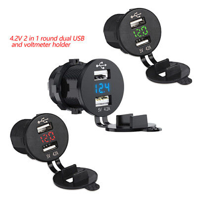 12V/24V 4.2A Car Bus Socket Dual USB Charger Plug Adapter LED Digital Voltmeter