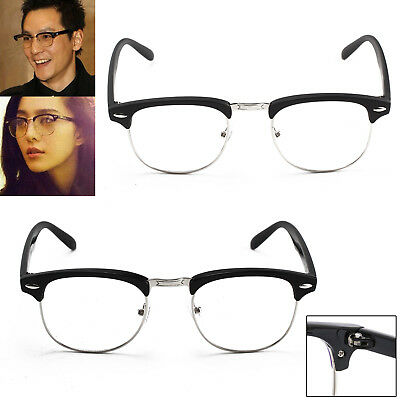 UK Unisex Clubmaster Clear Vintage Glasses Novelty Mens Ladies Party Fashion New