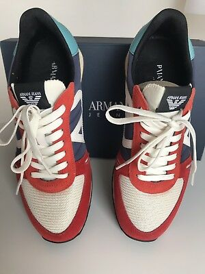 best loved bd360 4bb7b ARMANI HERREN LEDER LOW TOP SNEAKERS SCHNüR HALB SCHUHE ROT GELB GR 41