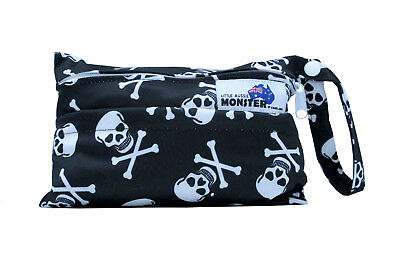 Skulls Mini Wet Bag For Menstrual Breast & Continence Pads + Reusable Waterproof