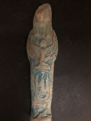 Rare Ancient Egyptian Faience Shabti With Isis On The front (945-715 BC.)