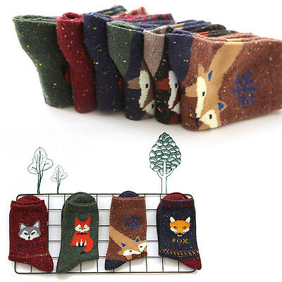 Women Animal Cartoon Fox Wolf Cotton Winter Warm Socks Female Ladies Casual