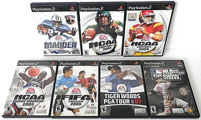 SONY PLAYSTATION 2 SPORTS GAME 7x PS2 TIGER WOODS MADDEN FOOTBALL NCAA FIFA MLB