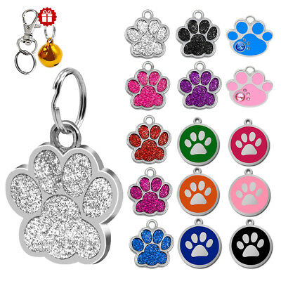 Anti Loss Cat Dog ID Tags Free Engraved Pet Name Phone Address Paw Bone Circle