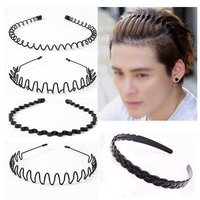 Fashionable Black Metal Waved Style Alice Sports Hairband Headband For Men Women