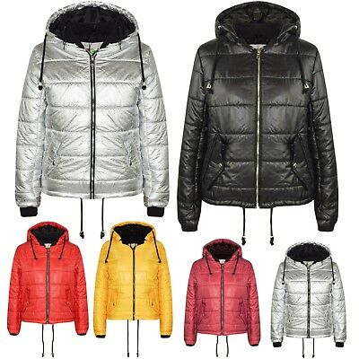 Kids Girls Bella High Shine Hooded Jacket Padded Quilted Puffer Jackets 5-13 Yrs