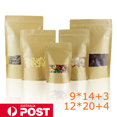50X Ziplock Stand Up Pouch Kraft Paper Food Packag Bags With Clear Window H