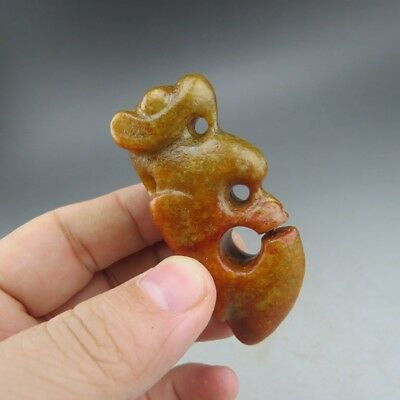 Chinese,jade,hongshan culture,hand-carved,River mill jade,dragon, pendant B172