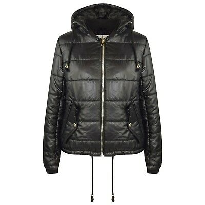 Kids Girls Jacket Bella High Shine Black Hooded Padded Quilted Puffer Jackets