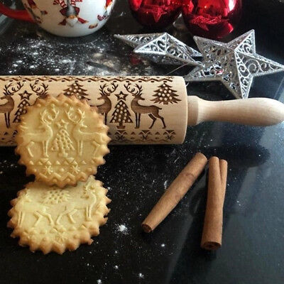 3D Embossing Wood Rolling Pin Baking Tools Christmas Professional Dough Roller