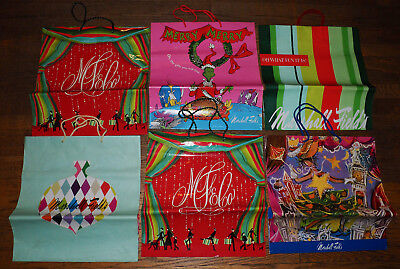 LOT of 6 MARSHALL FIELDS Chicago SHOPPING BAGS w/ GRINCH CHRISTMAS BAG