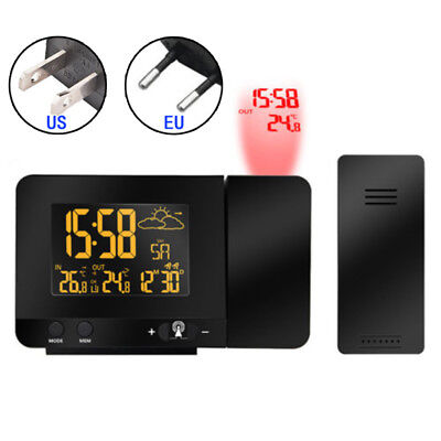 LED Projection Digital Alarm Clock Snooze Weather Thermometer LCD Color Display