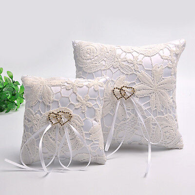 Double Heart Wedding Pocket Ring Pillow Cushion Bearer Crystal Rhineston、Pop