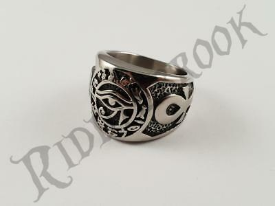 Stainless Steel Iron Egyptian Biker Ring eye of Horus Ra Re Ankh symbols