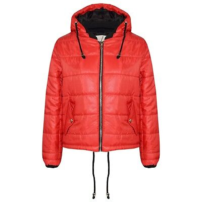 Kids Girls Jacket Bella High Shine Red Hooded Padded Quilted Puffer Jackets 5-13