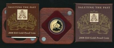 Australian 2008 $10 Centenary of Rugby League 1/10 oz Gold Proof Coin
