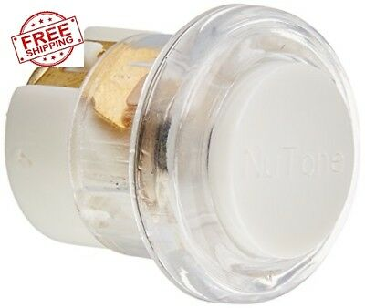 NuTone PB18LWHCL Round Wired Lighted Door Chime Push Button White with Clear