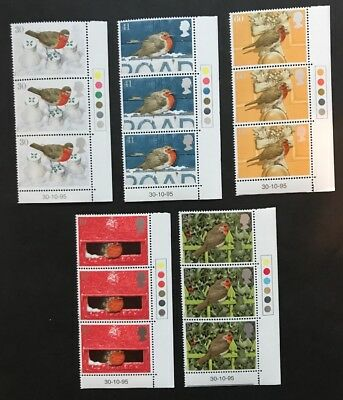 Gb Stamps 1995 Christmas Robins - Mnh Blocks Of 3 With Traffic Lights Abd Date