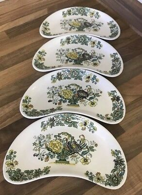 """4 x  Vintage Mason's Strathmore Green Set of Crescent Shaped Dishes 8.5"""""""