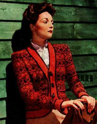 VINTAGE KNITTING PATTERN Lady s Fair Isle Jacket Cardigan. 4Ply Yarn ... 917e0ad26
