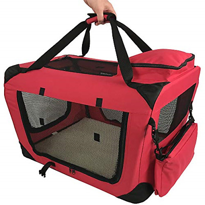 RayGar RED DOG PUPPY CAT PET FABRIC PORTABLE FOLDABLE STRONG SOFT CRATE CARRIER