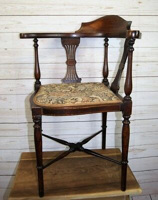 Antique Edwardian Regency Revival Style Mahogany Upholstered Inlaid Corner Chair