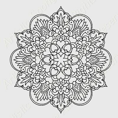 Mandala Hearts Flowers Reusable Stencil A3 A4 A5 Oriental Travel Wall DIY  / M10
