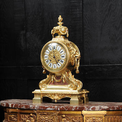 Antique French Gilt Bronze Drum Head Clock Classical Lions Japy Large C1870
