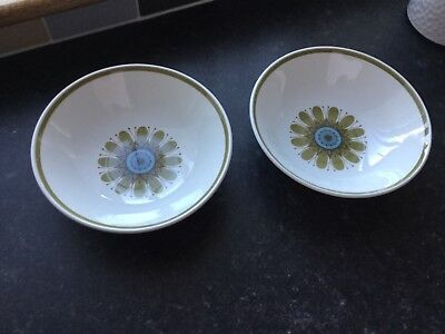 "Vintage Retro J & G Meakin Galaxy 6.5"" SMALL BOWLS SOUP CEREAL ETC  X 2 vgc"