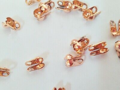 100 Rose Gold Clamshell Calottes Crimps Bead Ends Jewellery Findings Fastenings