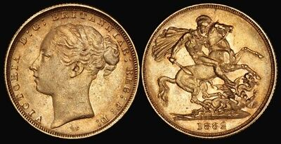 AUSTRALIA : 1882S QV Young head St George Gold Sovereign.