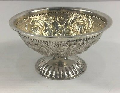Antique Solid Silver Hanau Pseudo Embossed Pedestal Bowl Shell & Floral 139g