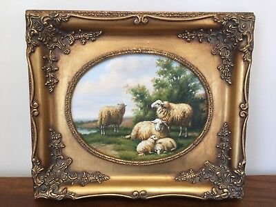 Oil Painting on Canvas Sheep Grazing with Landscape