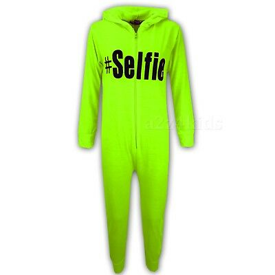 Kids Boys #Selfie Neon Green A2Z Onesie One Piece Summer Jumpsuit PJ's 5-13 Year
