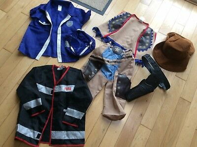 Boy's Fancy Dress Outfits Bundle Age 3 - 4... Cowboy, Fireman, Policeman