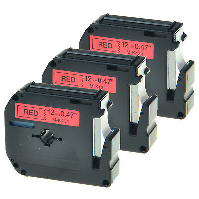 3PK Black on Red Tape for Brother P-touch MK431 M-K431 PT-80 12mm Label Maker