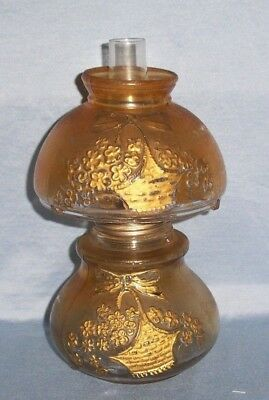 Antique Vintage Miniature Amber Frosted Embossed Basket Flowers Glass Oil Lamp