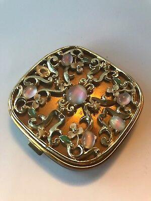 Vintage Woman`s Compact with Mirror 1950`s Gold Toned With Flowers
