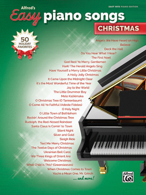 """Alfred's Easy Piano Songs-Christmas"" MUSIC BOOK-50 HOLIDAY FAVORITES-NEW-SALE!!"