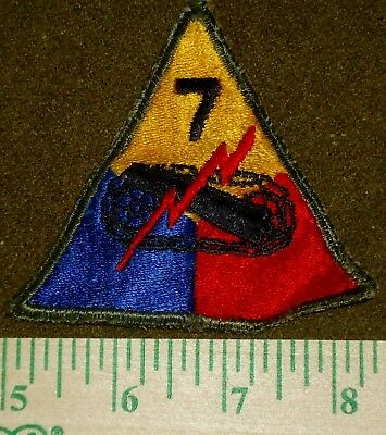 US Army WWII Era Shoulder Patch, 7th Armored Division Lucky Seventh, ETO