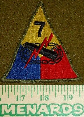US Army WWII Era Shoulder Patch, 7th Armored Division Lemon Yellow Variation