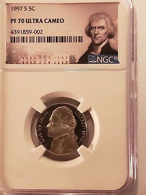 Ngc 1997 S Proof 70 Ultra Cameo Jejefferson Nickel Portrait Label