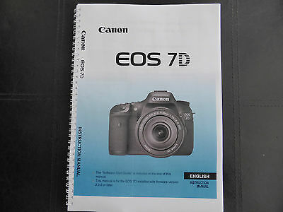 ~PRINTED~ Canon EOS 7D User guide Instruction manual A4 or A5