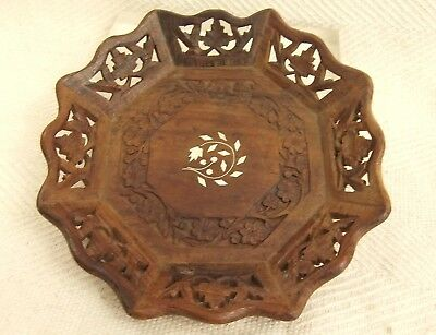 "Vintage Indian Rosewood Nut Bowl With Decorative inlay 9.5"" ideal 4 Christmas"