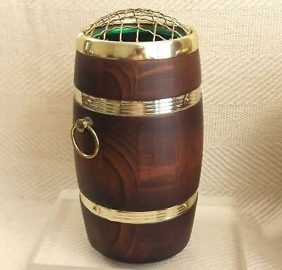 "Vintage Lancraft Wood Ware & Laminated Brass Flower Vase Barrel Shaped 9"" Tall"
