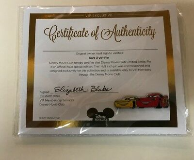 Disney - Cars 3 Collector's Pin - with COA (Certificate Of Authenticity) - NEW !